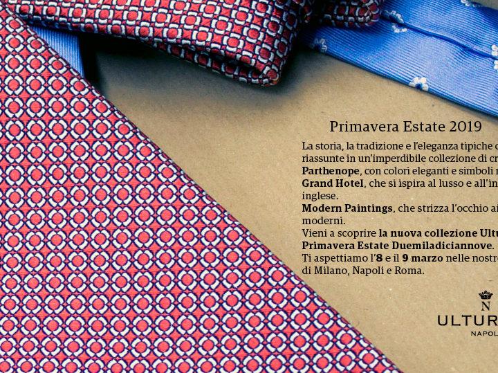 Ulturale presenta la nuova collezione primavera estate 2019. Le cravatte sono ispirate ai colori e al mito di Napoli.
