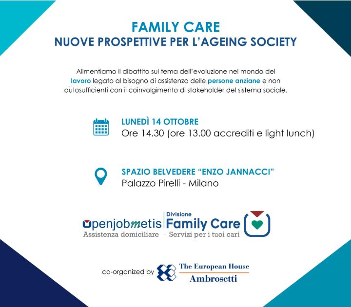 """""""Family care: nuove prospettive per l'Ageing Society"""":  a Palazzo Pirelli presentate da The European House -Ambrosetti le priorità di azione per i servizi agli anziani e alle famiglie"""